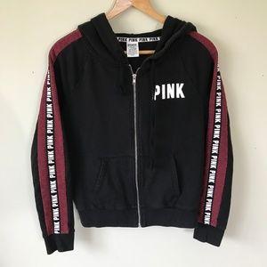 Pink Victoria's Secret Black Logo Full Zip Hoodie